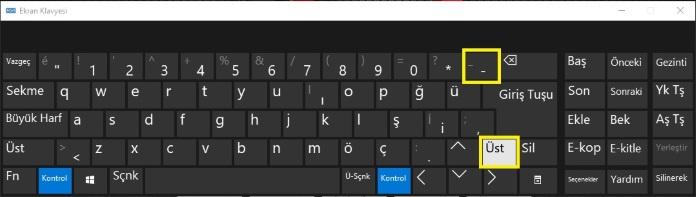 Ekran klavyesinde alt tire nasıl yapılır?