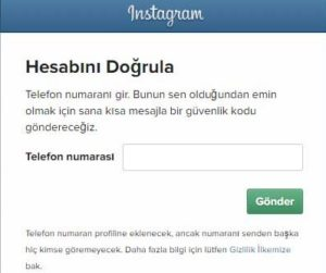 Instagramdan telefonuma onay kodu gelmiyor